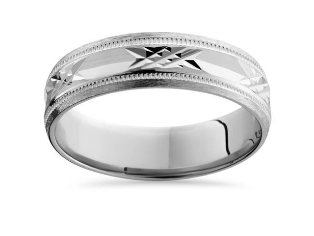 Mens 14K White Gold Swiss Cut Wedding Band Ring New