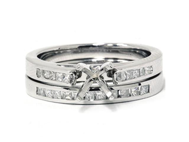 5/8ct Princess Cut Cathedral Engagement Ring Set 14K White Gold