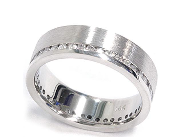 1 1/10ct Diamond Eternity Wedding Ring Brushed 14K Band