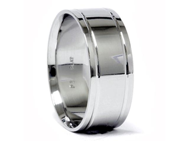 Double Inlay Wedding Band 950 Platinum