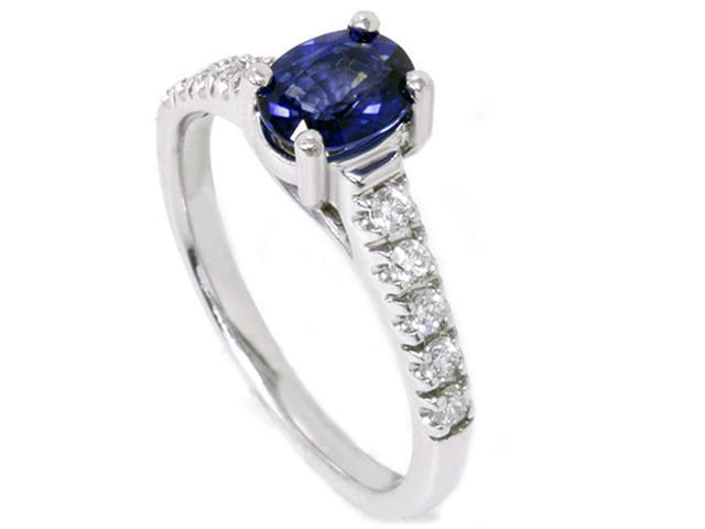 7/8ct Blue Sapphire Accent Diamond Ring 14K White Gold