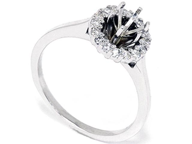 1/4ct Diamond Halo Engagement Semi Mount Ring 14k White Gold