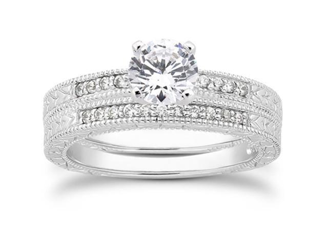 1/2ct Vintage Hand Engraved Diamond Bridal Ring Set Solid 14K White Gold