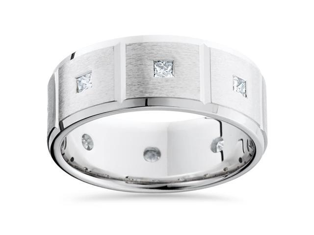 Mens Princess Cut Diamond Wedding Ring Comfort Fit Brushed Bevel In 14K White Gold