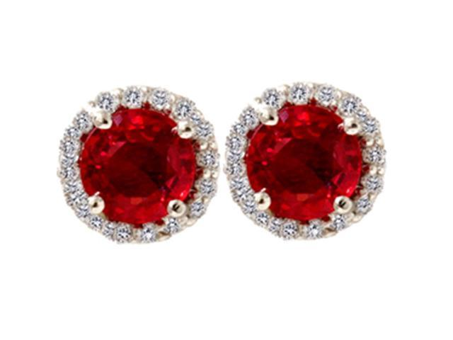 2 1/10ct Diamond & Red Sapphire Gemstone Earrings 14K White Gold