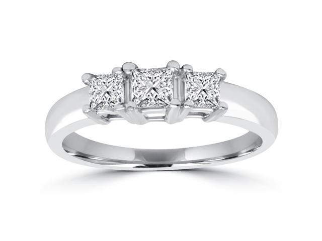 1ct Three Stone Princess Cut Diamond Engagement Ring 14K White Gold