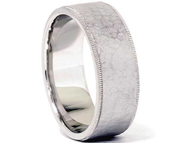 Mens 14K White Gold Comfort Fit Hammered Wedding Band