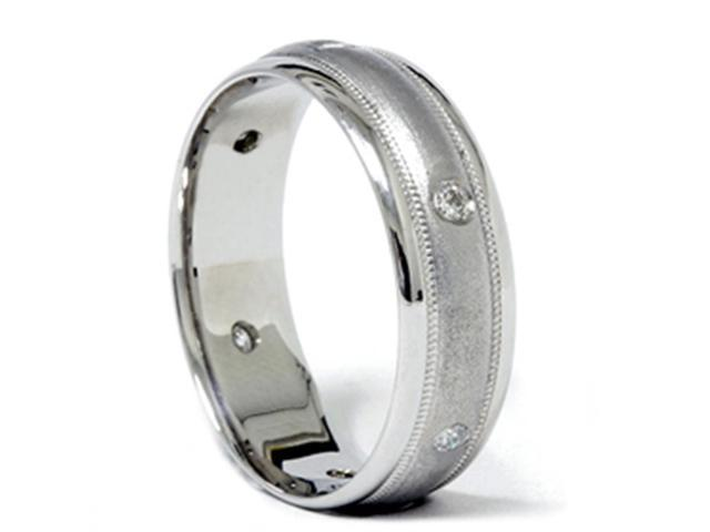 Mens Diamond 14K White Gold Brushed Wedding Ring Band