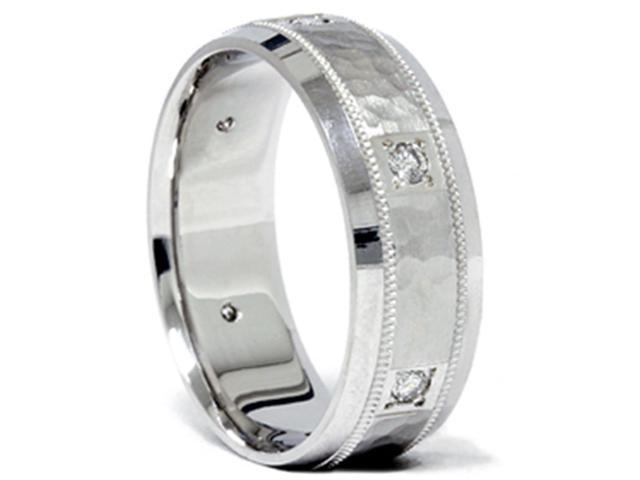 1/4ct Diamond White Gold Hammered Wedding Ring Band 14K