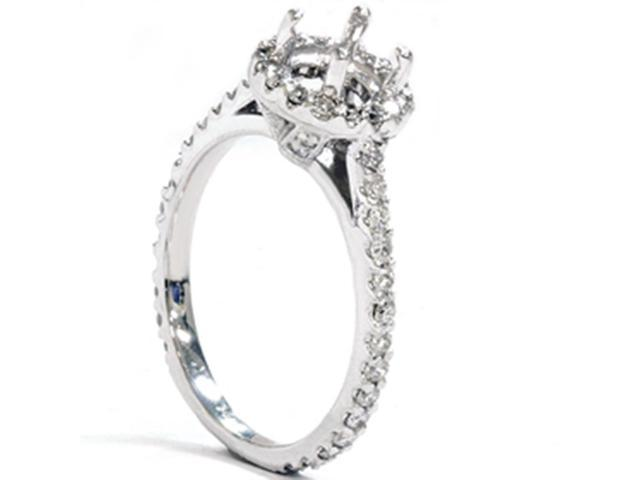 1/2ct Halo Diamond Engagement Semi Mount Ring 14K White Gold