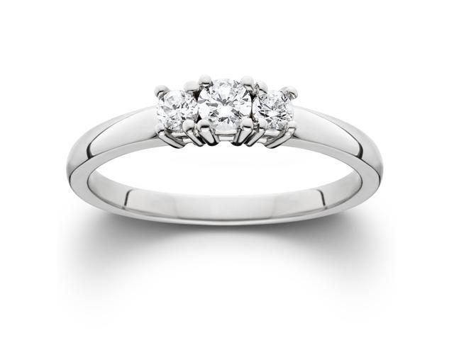 1/2ct Three Stone Diamond Ring 14K White Gold