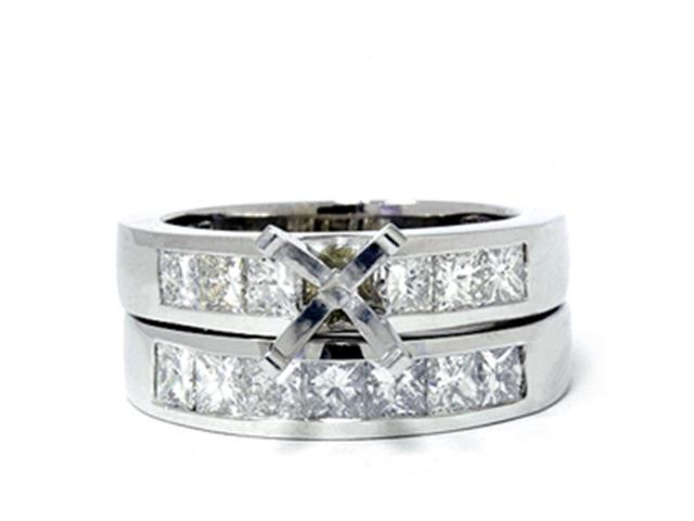 1 3/4ct Princess Cut Diamond Engagement Bridal Ring Set Mounting Solid14K