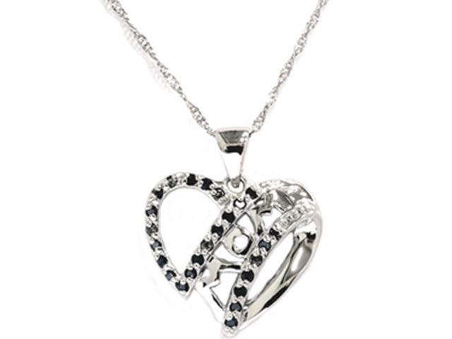 Women's 1/10ct Black Diamond Heart MOM Pendant 10K Gold Necklace Chain Included