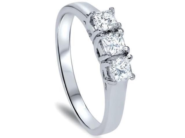 1ct Three Stone Princess Cut Diamond Ring 14K White Gold