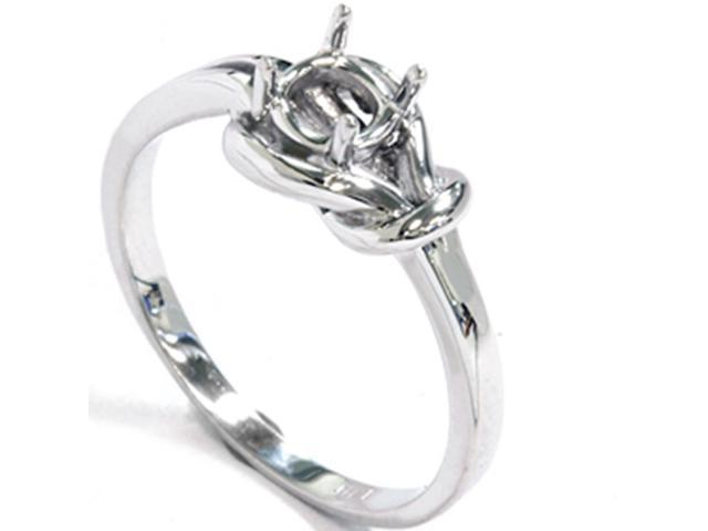14K White Gold Knot Solitaire Engagement Ring Setting