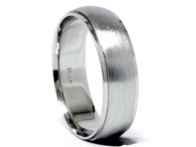 Mens 950 Platinum 6mm Brushed Wedding Band Ring New