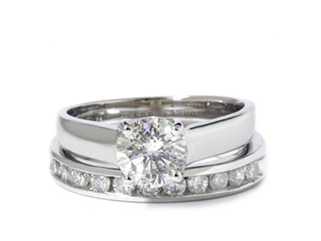 1 1/2ct Solitaire Round Enhanced Diamond Engagement Ring Set 14K White Gold