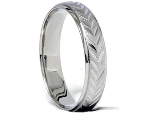 Chevron Brushed Wedding Band 14K White Gold