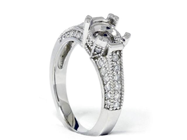 Pave Diamond Engagement Semi Mount Ring 14K White Gold Setting