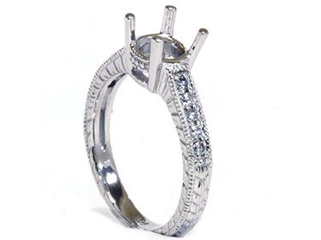 Women's1/5ct Vintage Hand Engraved Diamond Engagement Ring Setting