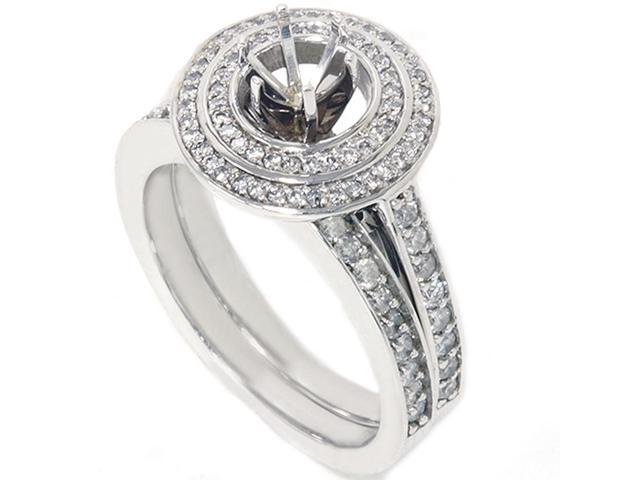 1ct Double Halo Engagement Bridal Ring Set 14K White Gold
