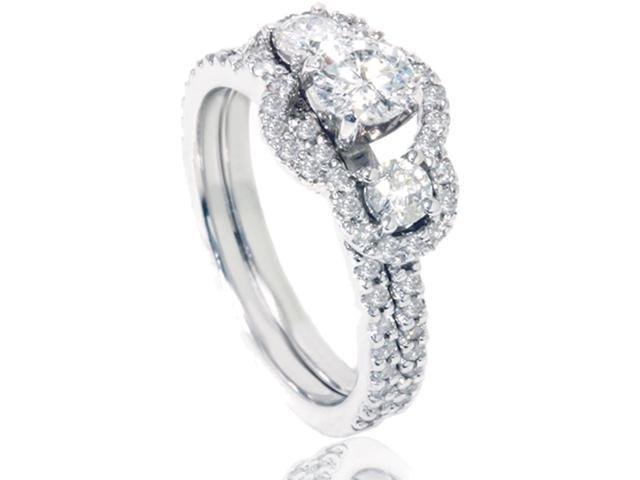 1 5/8ct Diamond Engagement Bridal Ring Set 14K White Gold