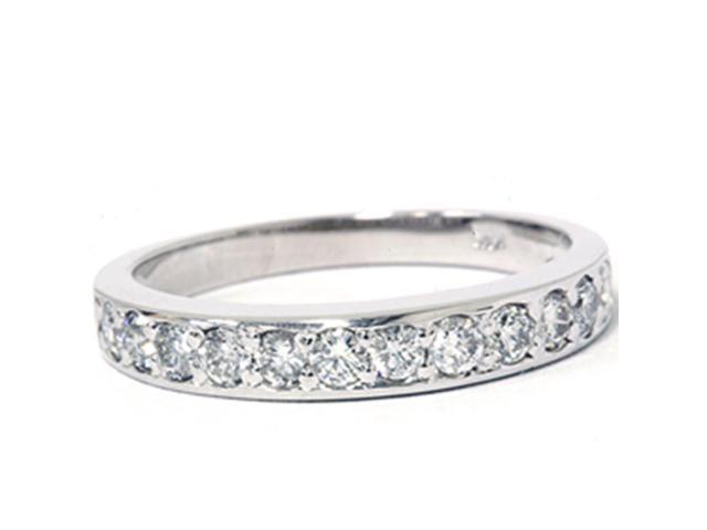 3/8ct Pave Diamond Wedding Anniversary Ring Solid 14K White Gold