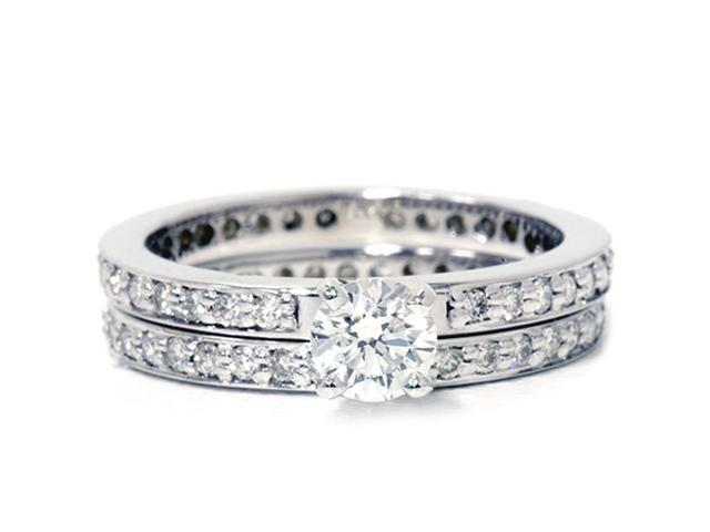 Diamond Engagement Wedding Ring Set 14K White Gold Pave Thin Diamond Band 1 1/5