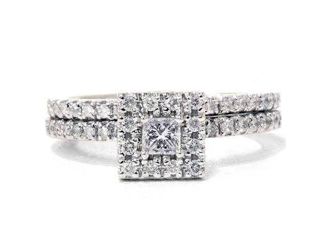 5/8ct Princess Cut Diamond Engagement Bridal Ring Set 14K White Gold