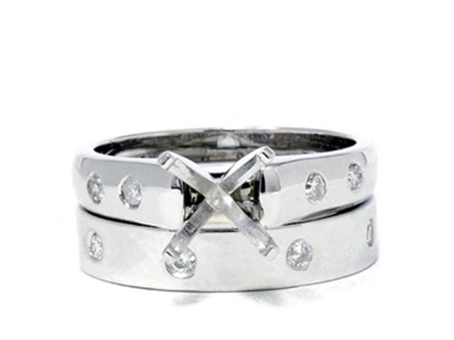 Cathedral Diamond Semi Mount Womens Engagement Ring Setting 14K White Gold