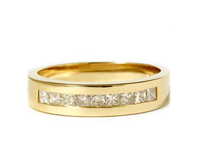 1ct Princess Cut Diamond Wedding Mens 18k Gold Ring