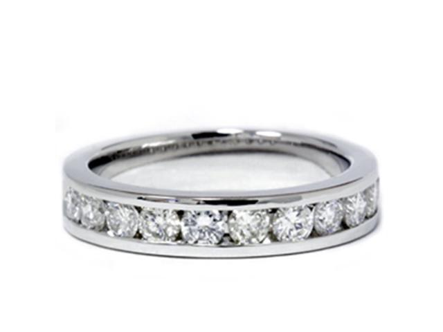 1ct Lab Grown Diamond Wedding Ring 14k White Gold Channel Set Eco-Friendly