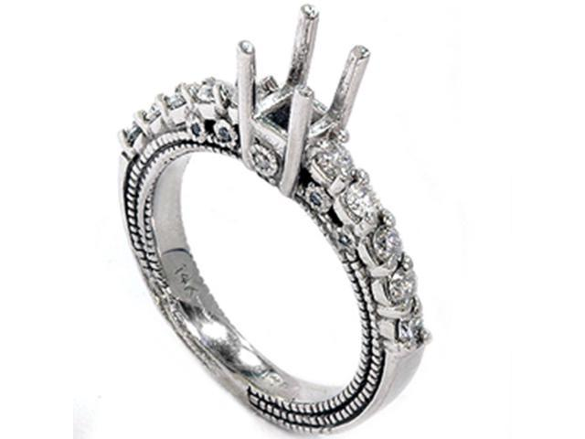 Women's 1/2ct Diamond Engagement Semi Mount 14K White Gold Ring Setting