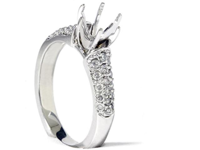 White Gold 3/8ct Pave Diamond Semi Mount Engagement Ring