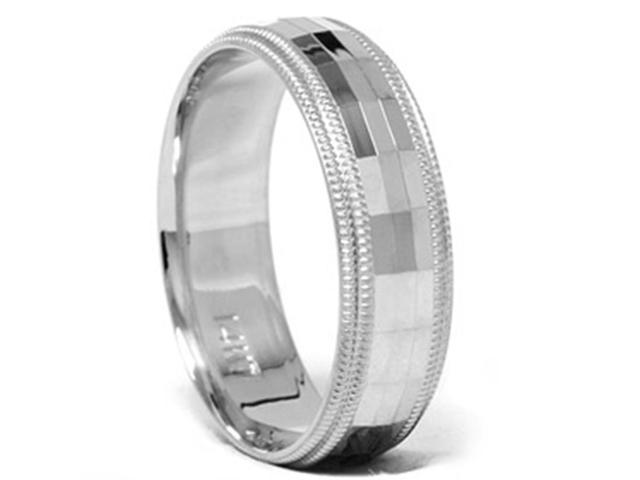 Men's 6mm Diamond Cut Comfort Fit Wedding Band Ring
