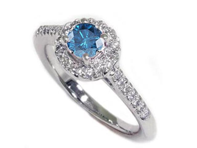 5/8ct Treated Blue Diamond Engagement Halo Ring 14K White Gold Pave Solitaire