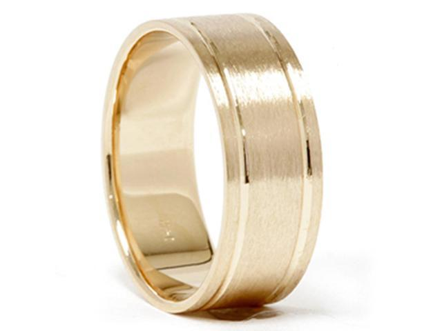 14K Yellow Gold Comfort Fit Brushed Mens Wedding Band
