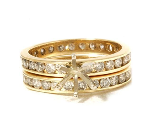 3ct Diamond Eternity Gold Wedding Ring Set Setting