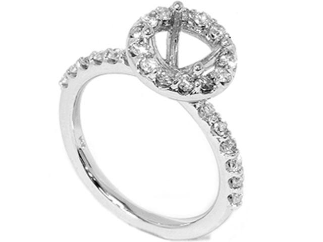 1/2ct Diamond Halo Engagement Ring Setting Solid 14K White Gold