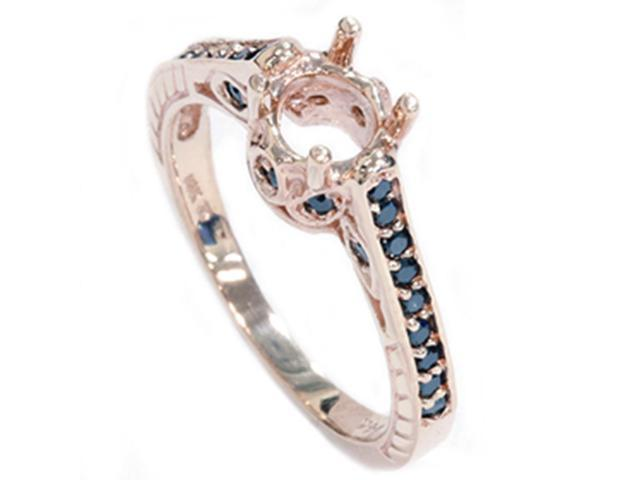 Rose Gold 1/4ct Vintage Black Diamond Ring Heirloom Setting Antique Mount AAA