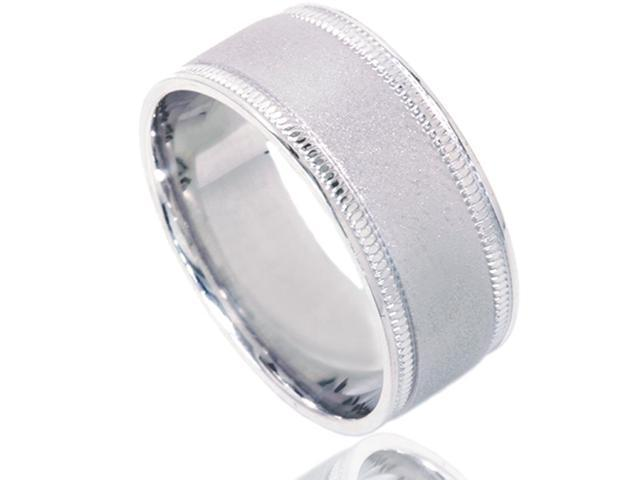 8mm Brushed Wedding Band 10K White Gold