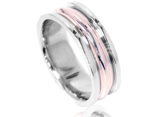 Grooved Comfort Fit 8mm Two Tone 14K Rose & White Gold