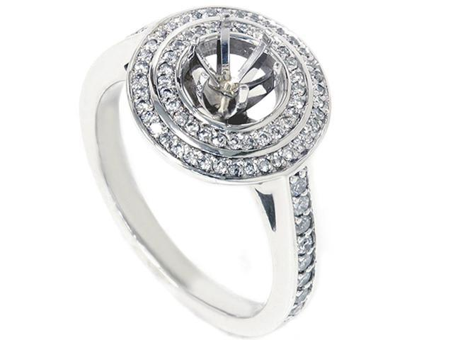 1/2ct Double Halo Diamond Engagement Anniversay Ring Setting 14K White Gold