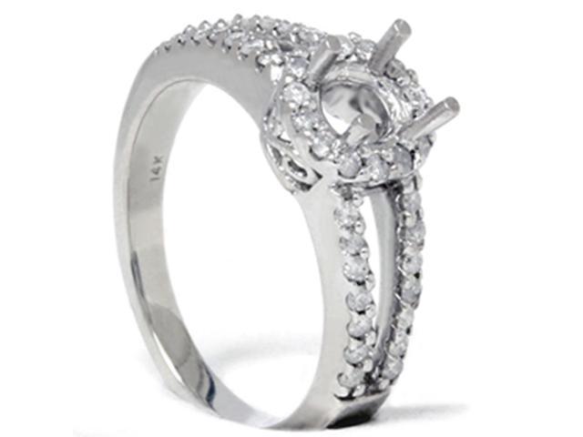3/8 CT Diamond Split Shank Engagement Ring Setting 14K White Gold