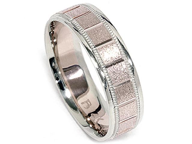 White & Rose Gold Textured Milgrain 6mm Wedding Band