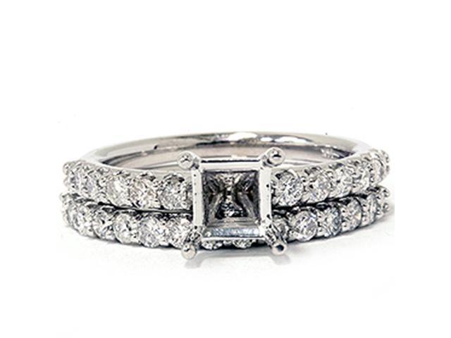 1ct Half Eternity Diamond Bridal Set Mounting 14K White Gold