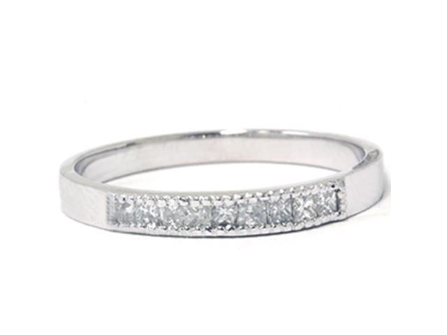 1/3ct Princess Cut Diamond Wedding Ring 14K White Gold