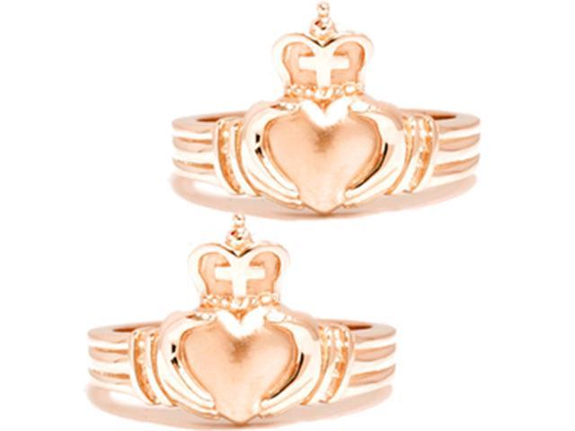 Gold Matching Claddagh Wedding Anniversary Ring Set
