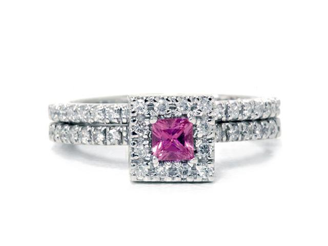 5/8ct Princess Cut Pink Sapphire & Diamond Engagement Wedding Ring Set 14K White Gold