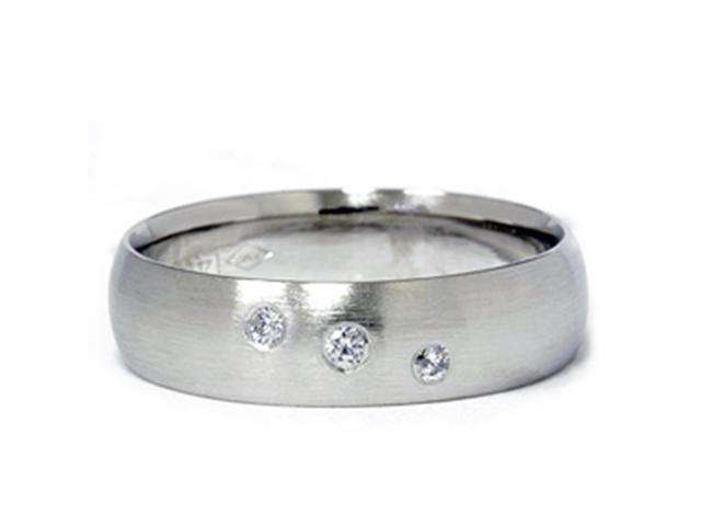 Mens Three Stone 14K White Gold Diamond Wedding Band